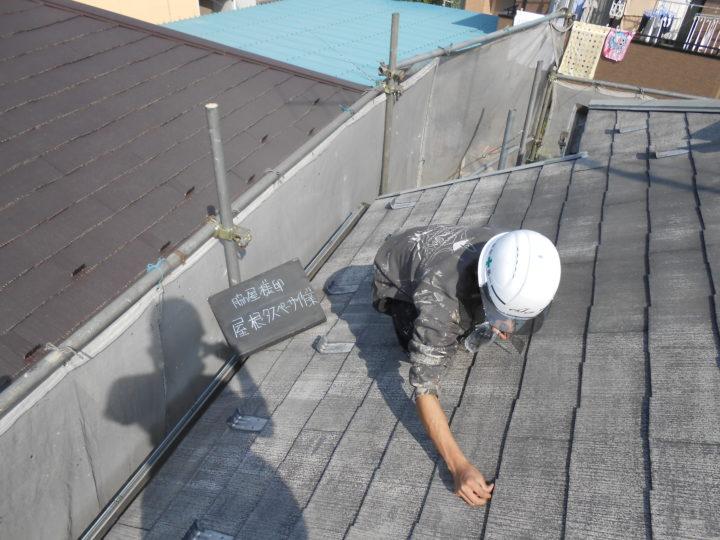 屋根 タスペーサー作業