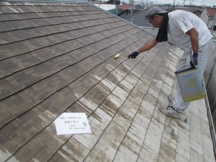 屋根下塗り   2回目