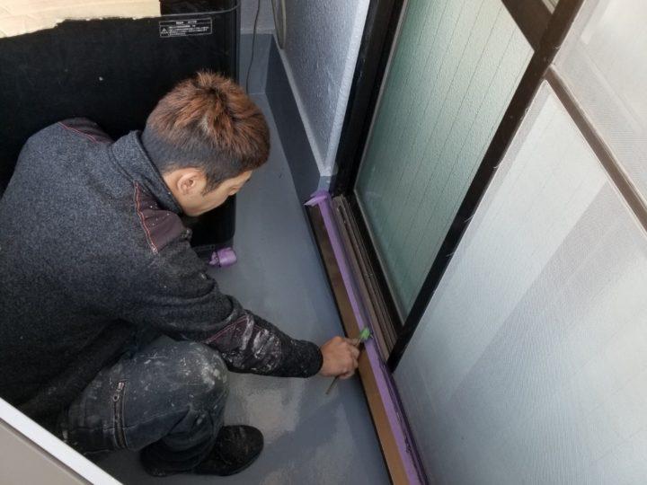 窓下コーキング処理