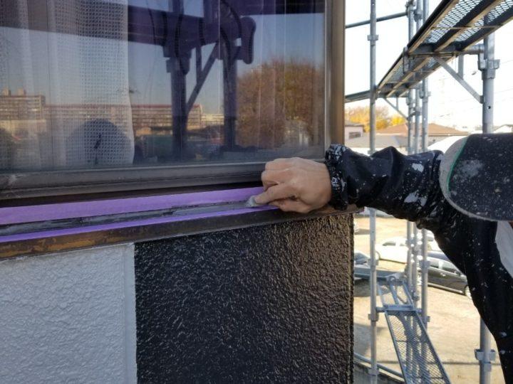 窓枠 コーキング処理