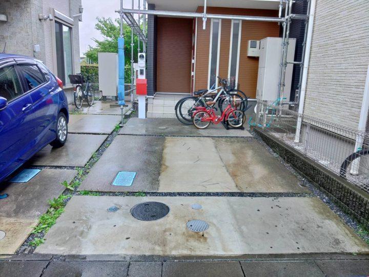 駐車場高圧洗浄前