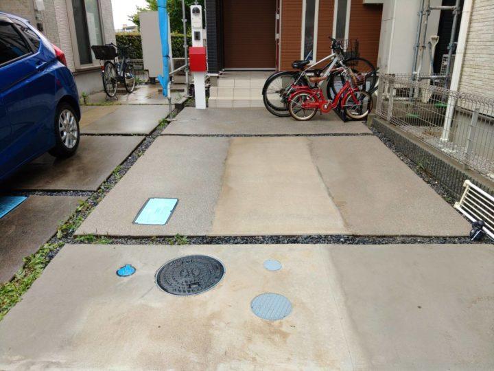 駐車場高圧洗浄後