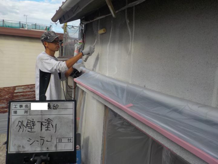 外壁下塗り 1回目